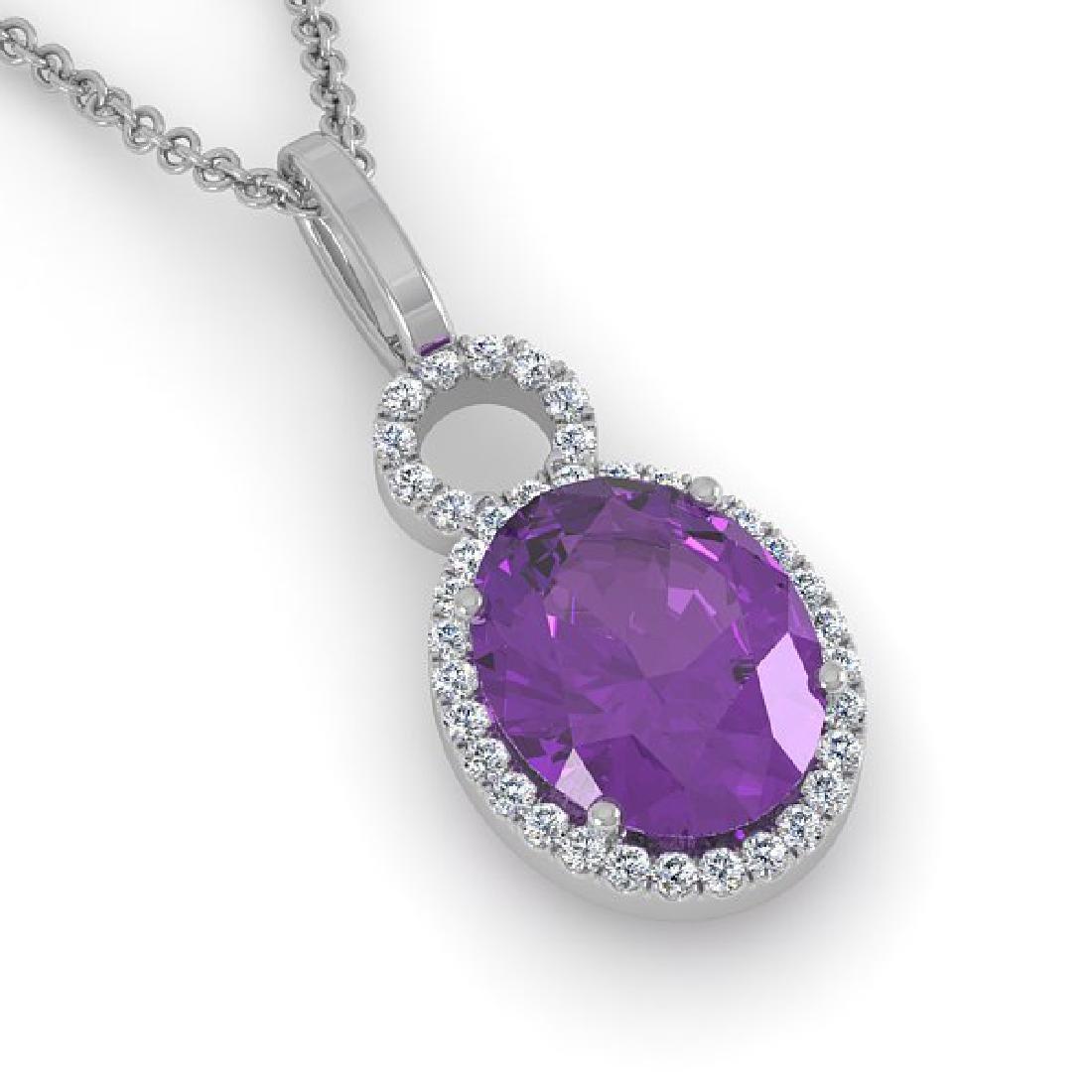 3 CTW Amethyst & Micro Pave Halo VS/SI Diamond Necklace