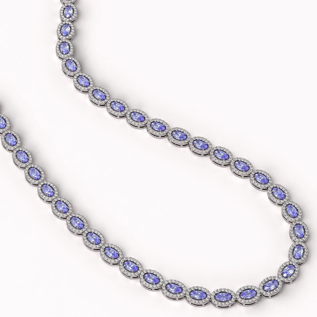 22.62 CTW Tanzanite & Diamond Halo Necklace 10K White - 2
