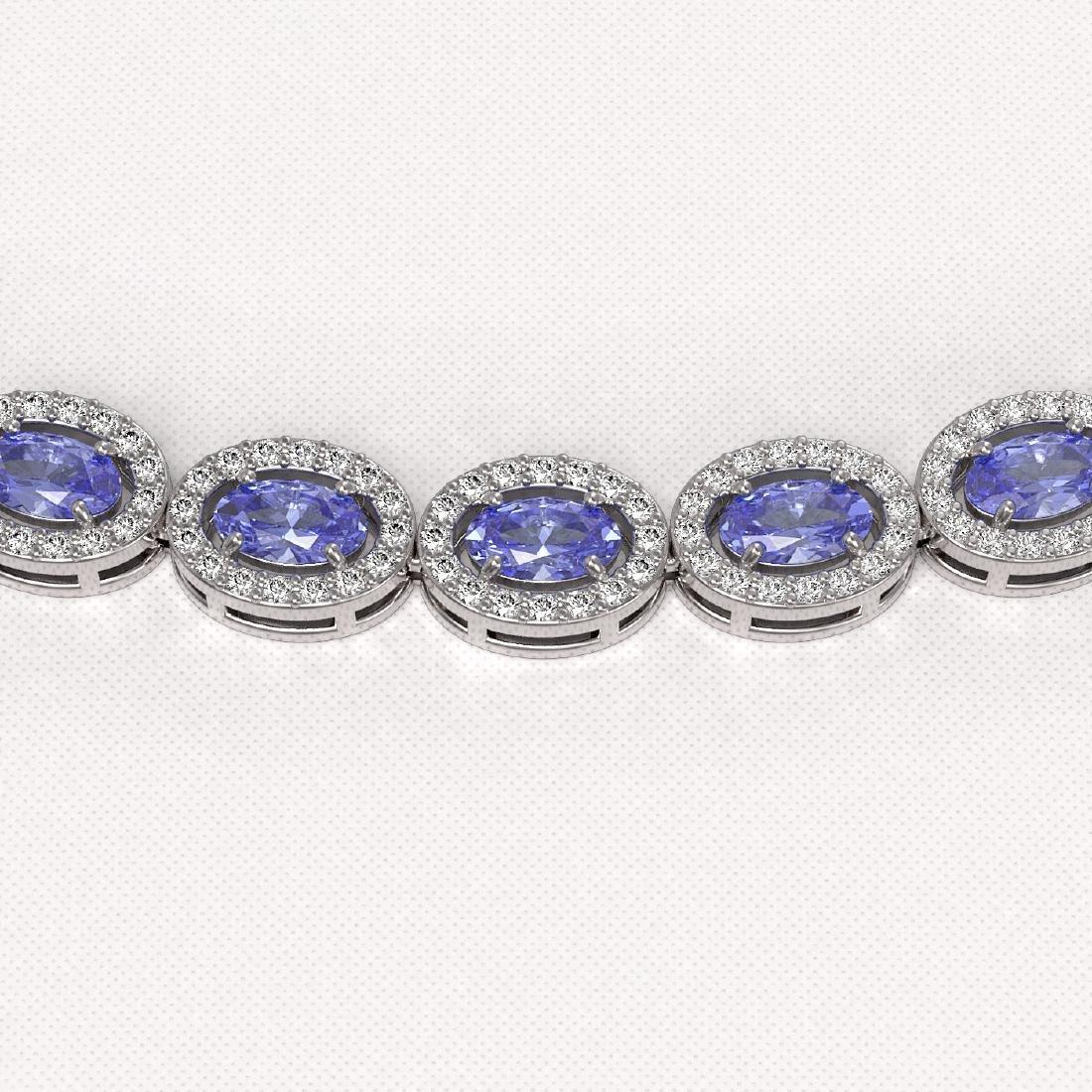 22.62 CTW Tanzanite & Diamond Halo Necklace 10K White - 3