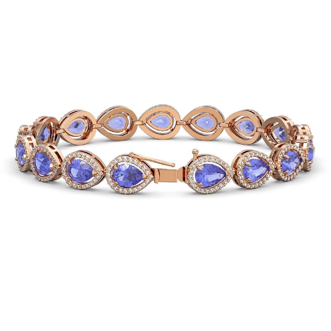 19.14 CTW Tanzanite & Diamond Halo Bracelet 10K Rose - 2