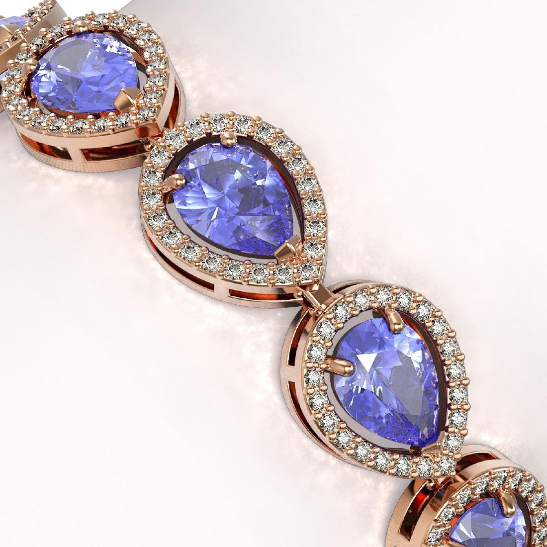 19.14 CTW Tanzanite & Diamond Halo Bracelet 10K Rose - 3