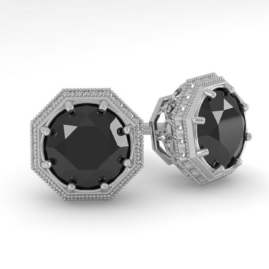 1.0 CTW Black Diamond Stud Solitaire Earrings 14K White
