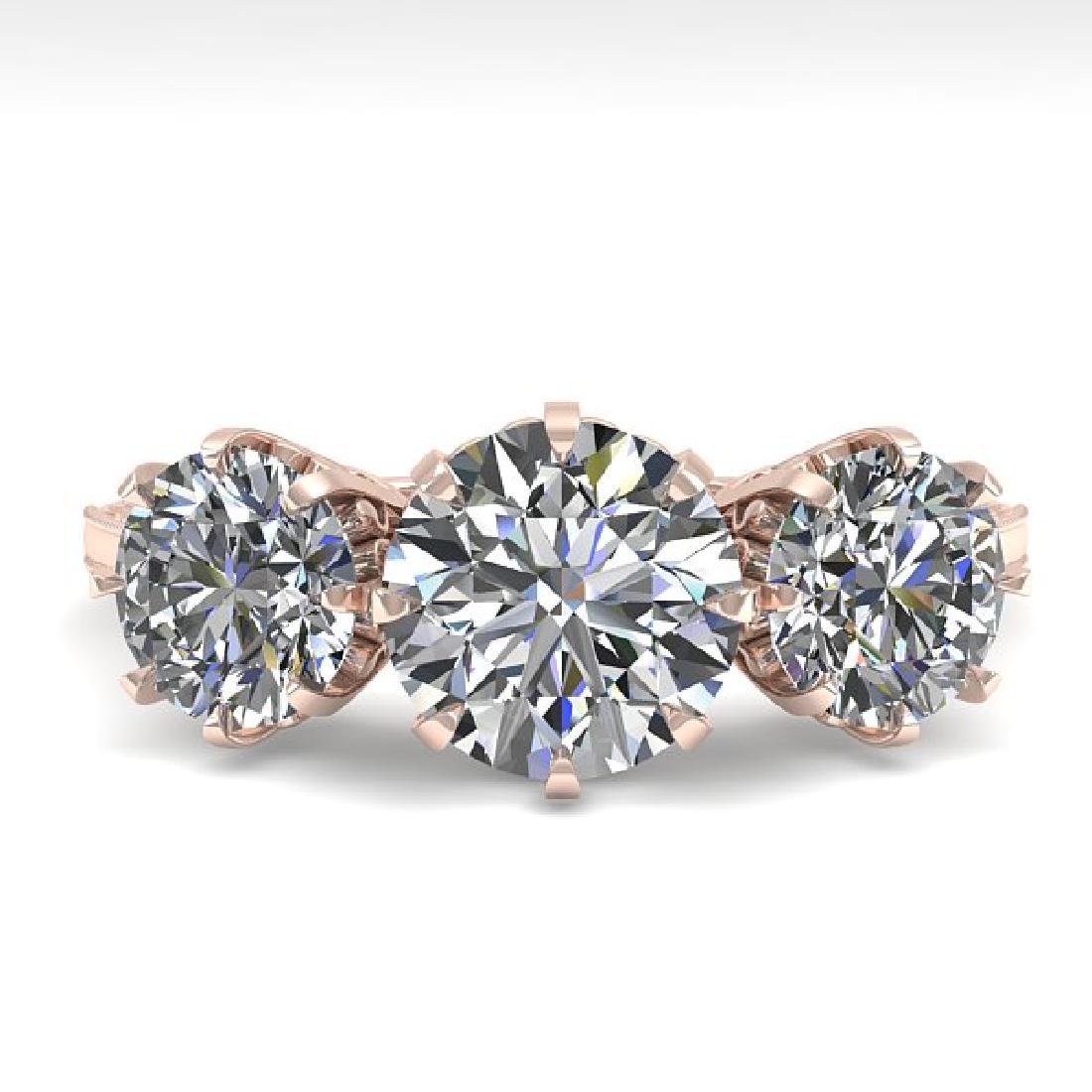 2 CTW Certified VS/SI Diamond Vintage Ring 14K Rose