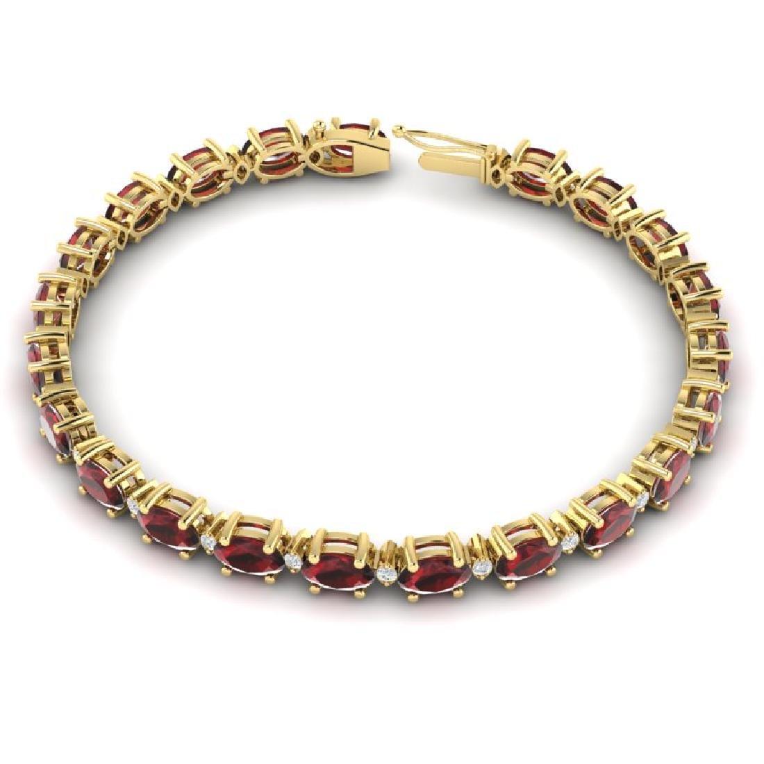 15 CTW Garnet & VS/SI Diamond Eternity Bracelet 10K - 3