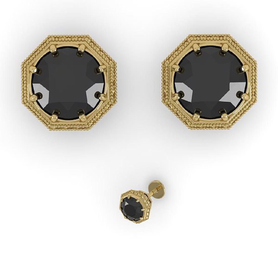 2.0 CTW Black Diamond Stud Solitaire Earrings 14K