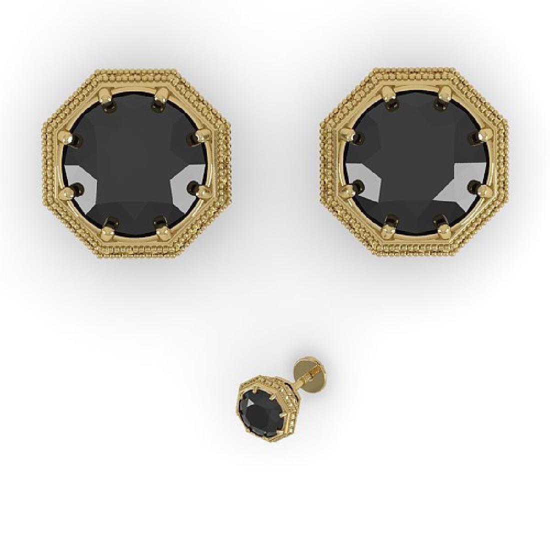 2.0 CTW Black Diamond Stud Solitaire Earrings 14K