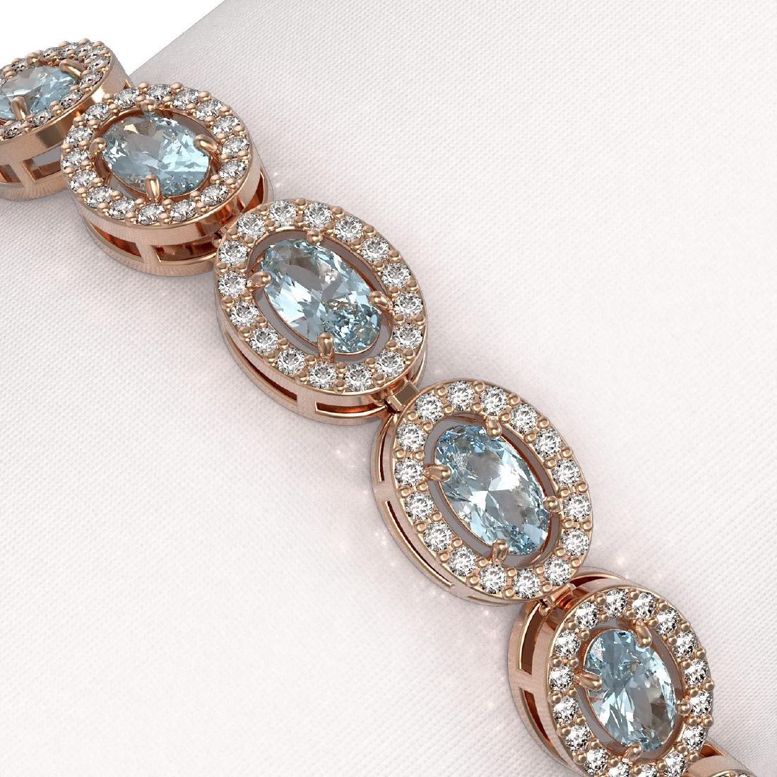 10.76 CTW Sky Topaz & Diamond Halo Bracelet 10K Rose - 2