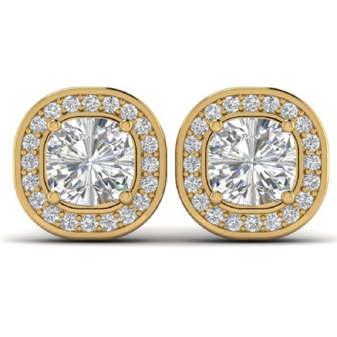 2 CTW Cushion Cut Certified VS/SI Diamond Art Deco Stud