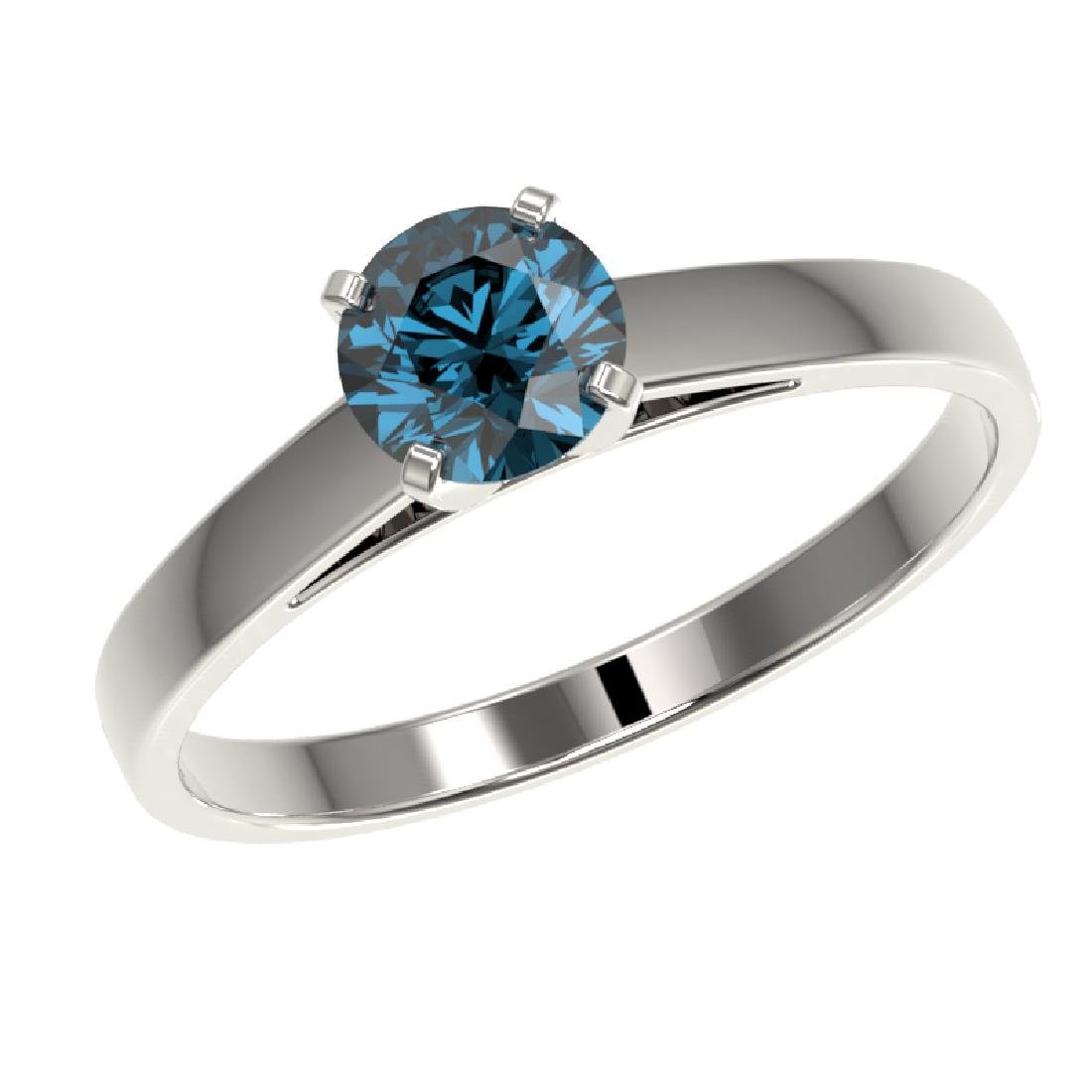 0.73 CTW Certified Intense Blue SI Diamond Solitaire - 2