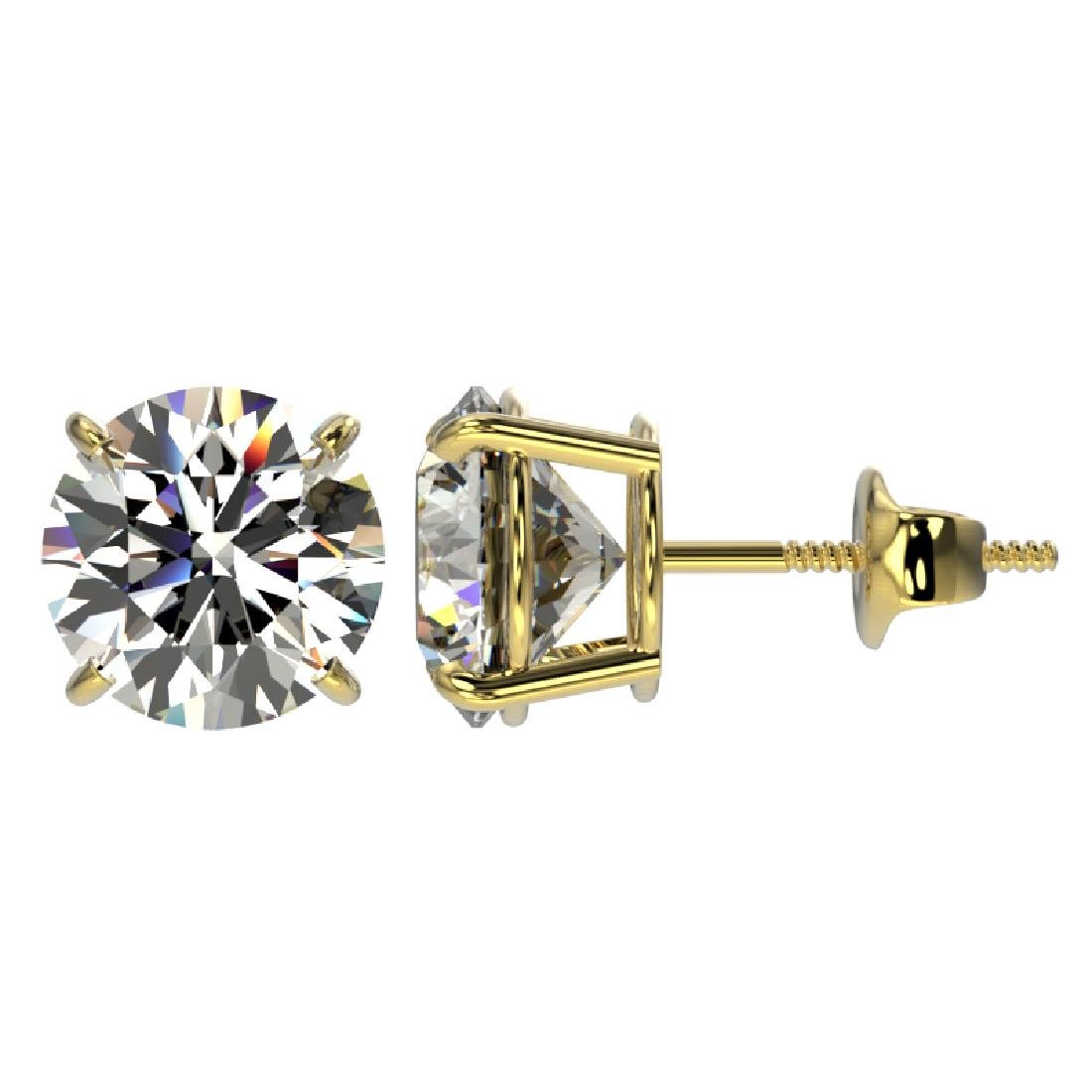 3 CTW Certified H-SI/I Quality Diamond Solitaire Stud - 2