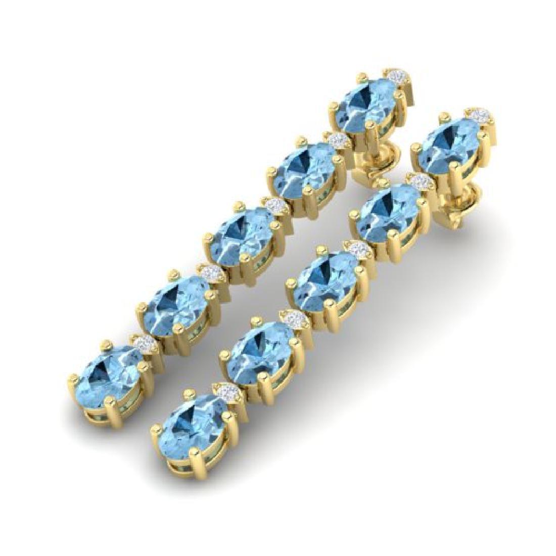 5 CTW Aquamarine & VS/SI Diamond Tennis Earrings 10K