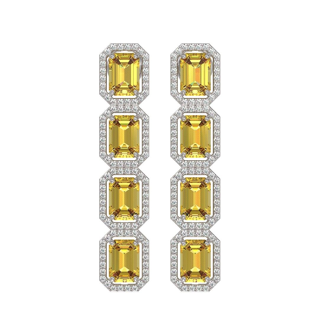 11.18 CTW Fancy Citrine & Diamond Halo Earrings 10K