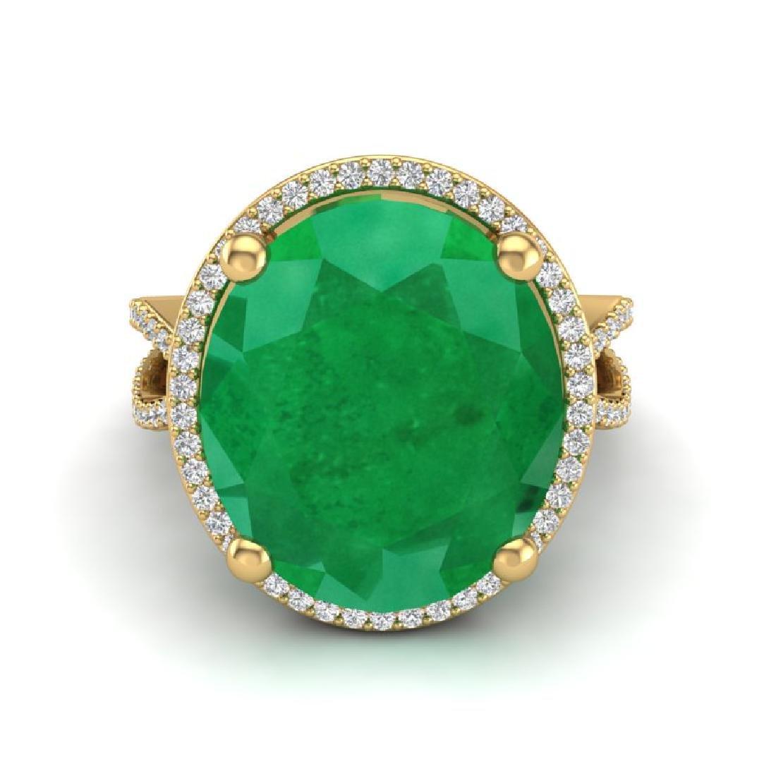 12 CTW Emerald & Micro Pave VS/SI Diamond Halo Ring 18K