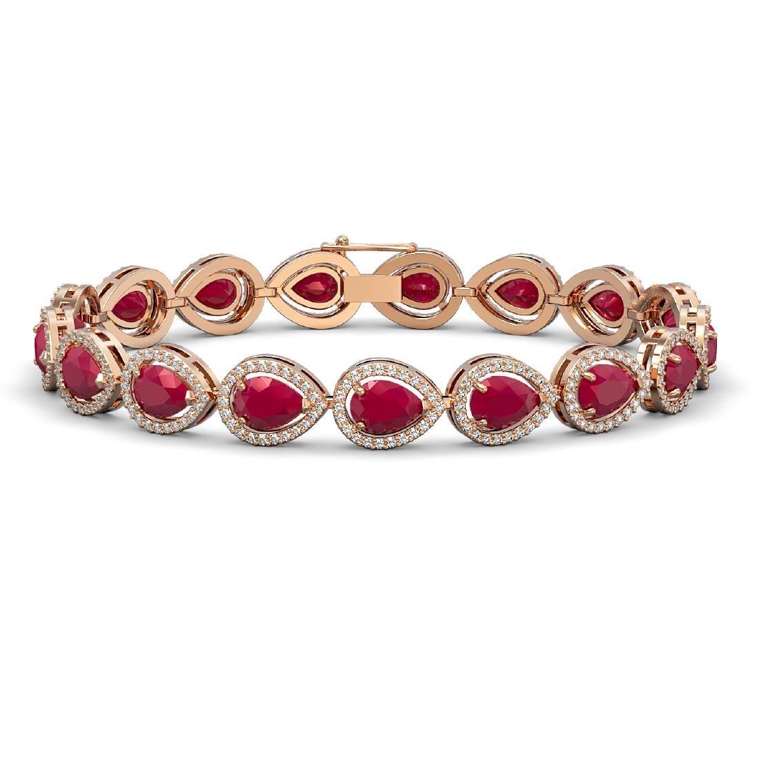 21.69 CTW Ruby & Diamond Halo Bracelet 10K Rose Gold