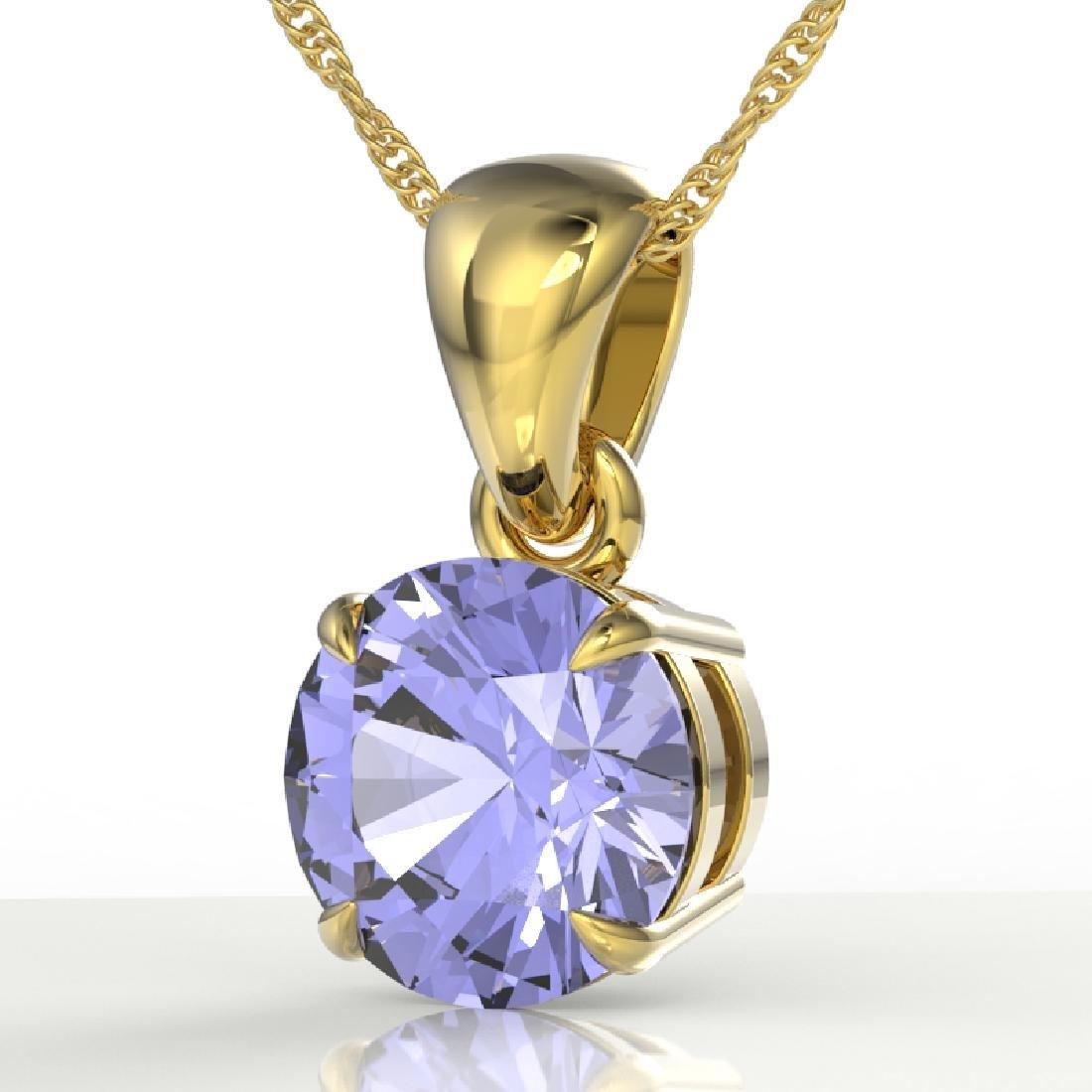 2 CTW Tanzanite Designer Inspired Solitaire Necklace