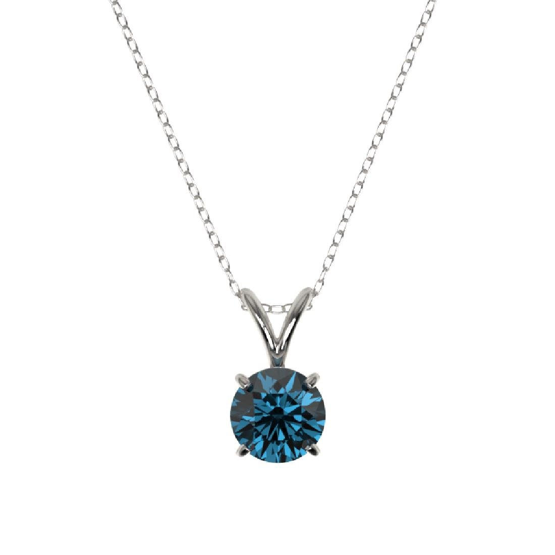0.75 CTW Certified Intense Blue SI Diamond Solitaire - 2