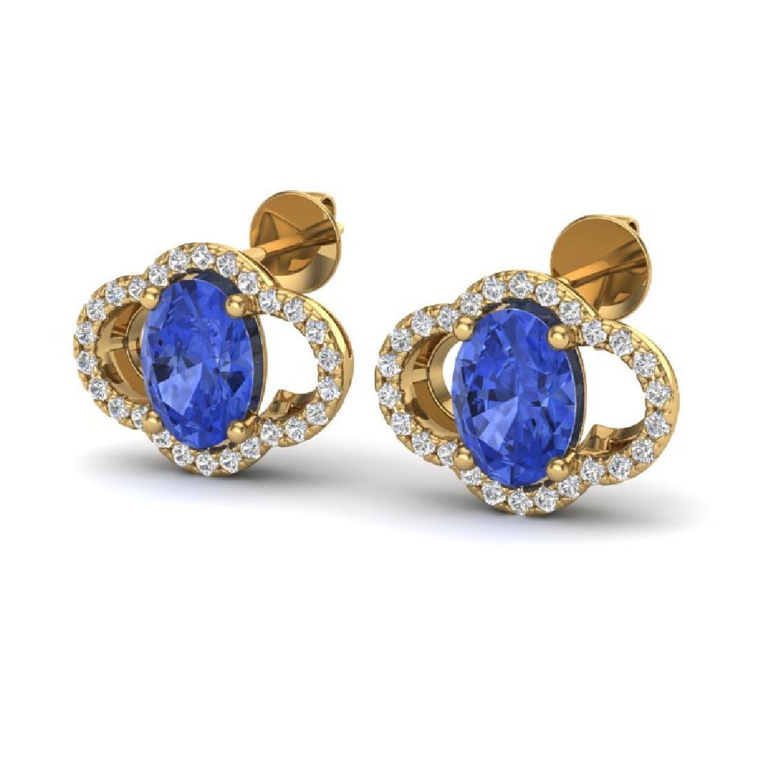 3.50 CTW Tanzanite & Micro Pave VS/SI Diamond Earrings