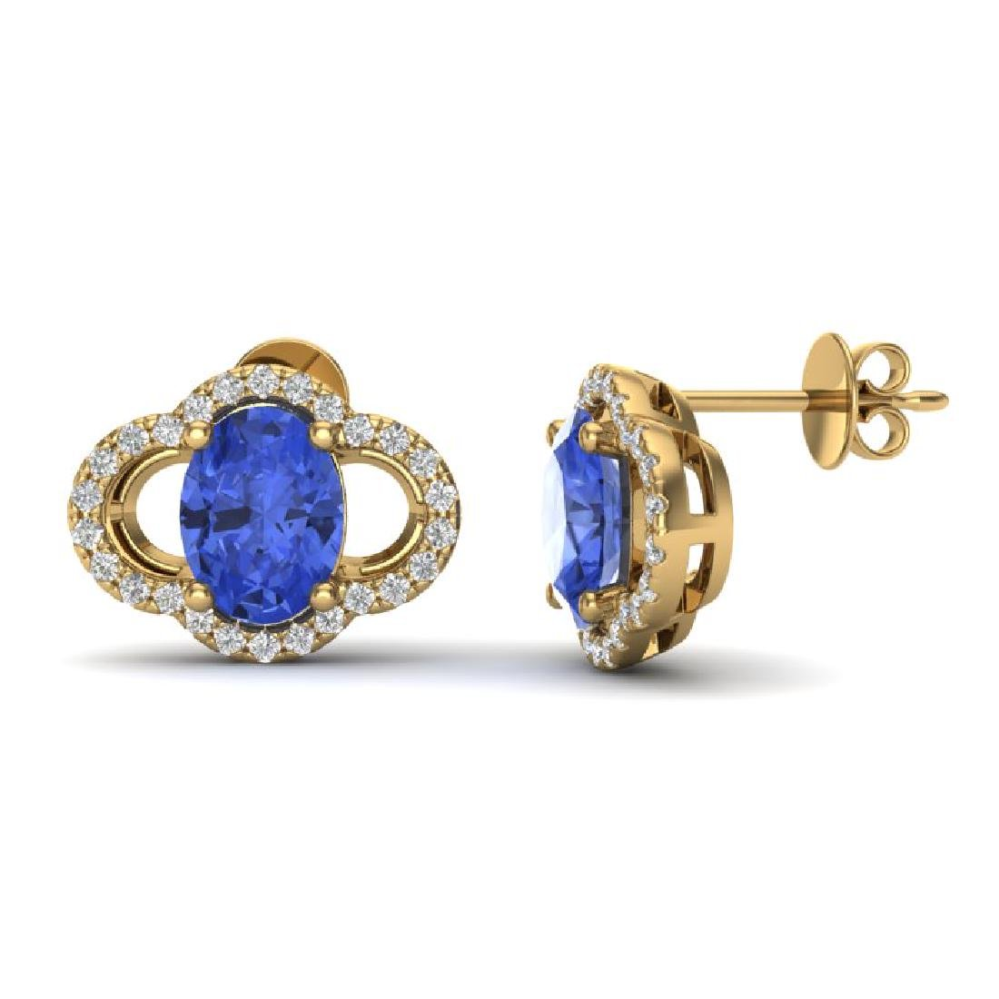 3.50 CTW Tanzanite & Micro Pave VS/SI Diamond Earrings - 2