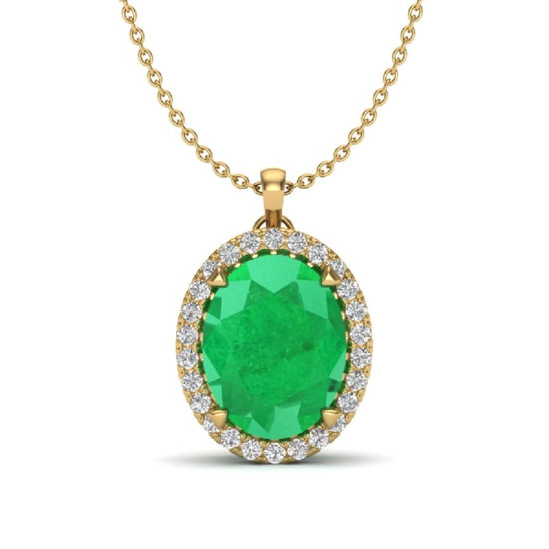 2.75 CTW Emerald & Micro VS/SI Diamond Halo Solitaire