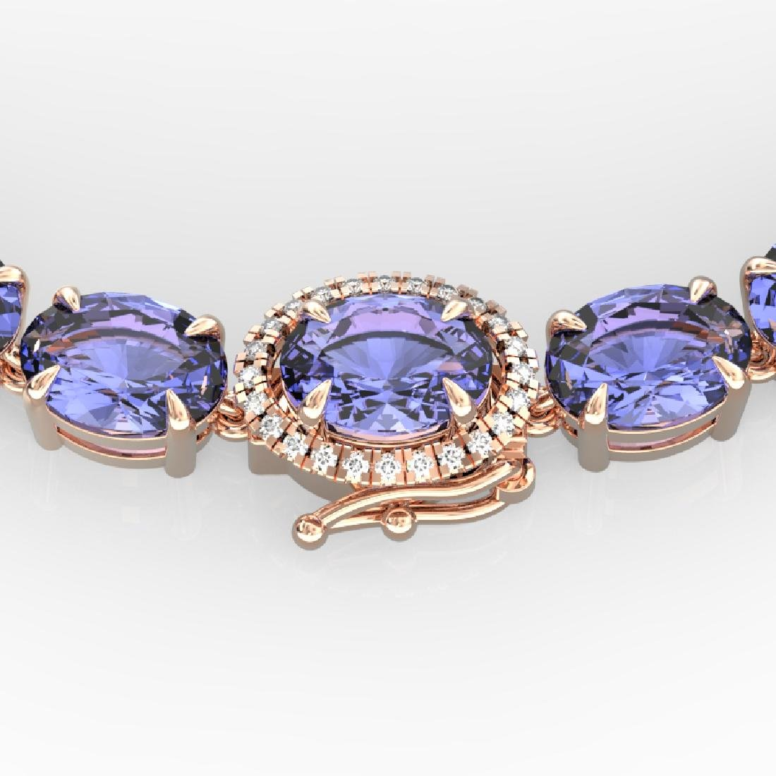 80 CTW Tanzanite & VS/SI Diamond Eternity Micro Halo