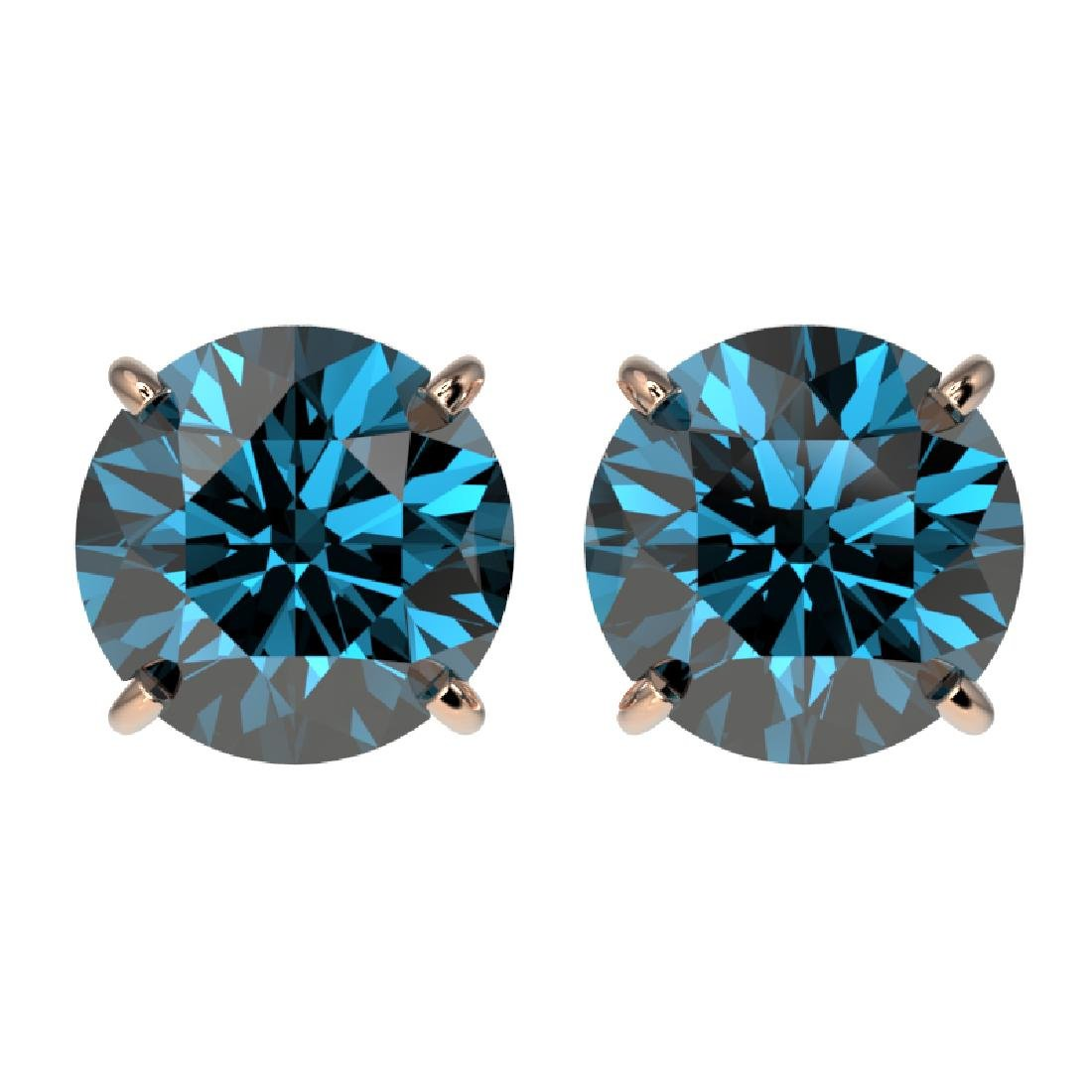 2.56 CTW Certified Intense Blue SI Diamond Solitaire