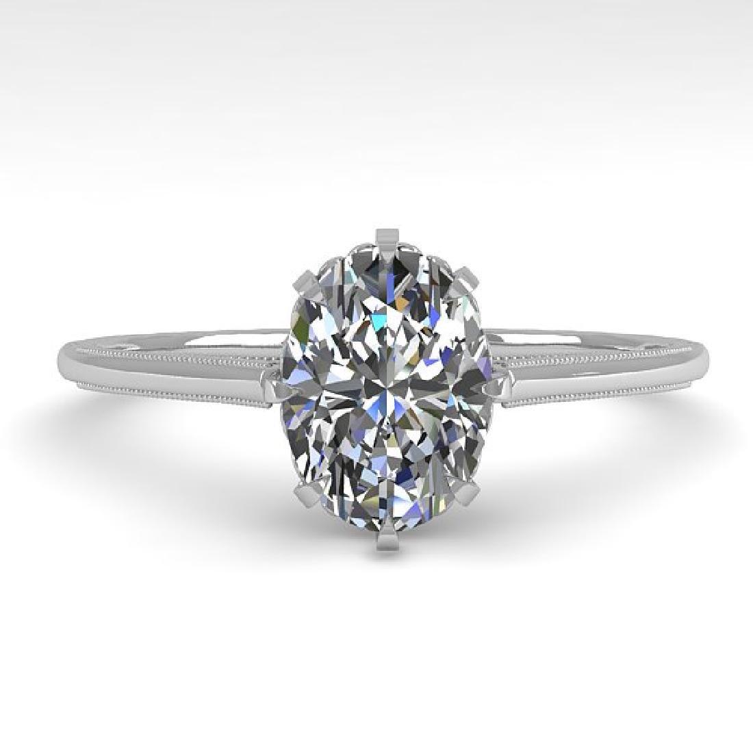 1.0 CTW VS/SI Oval Diamond Solitaire Ring 14K White