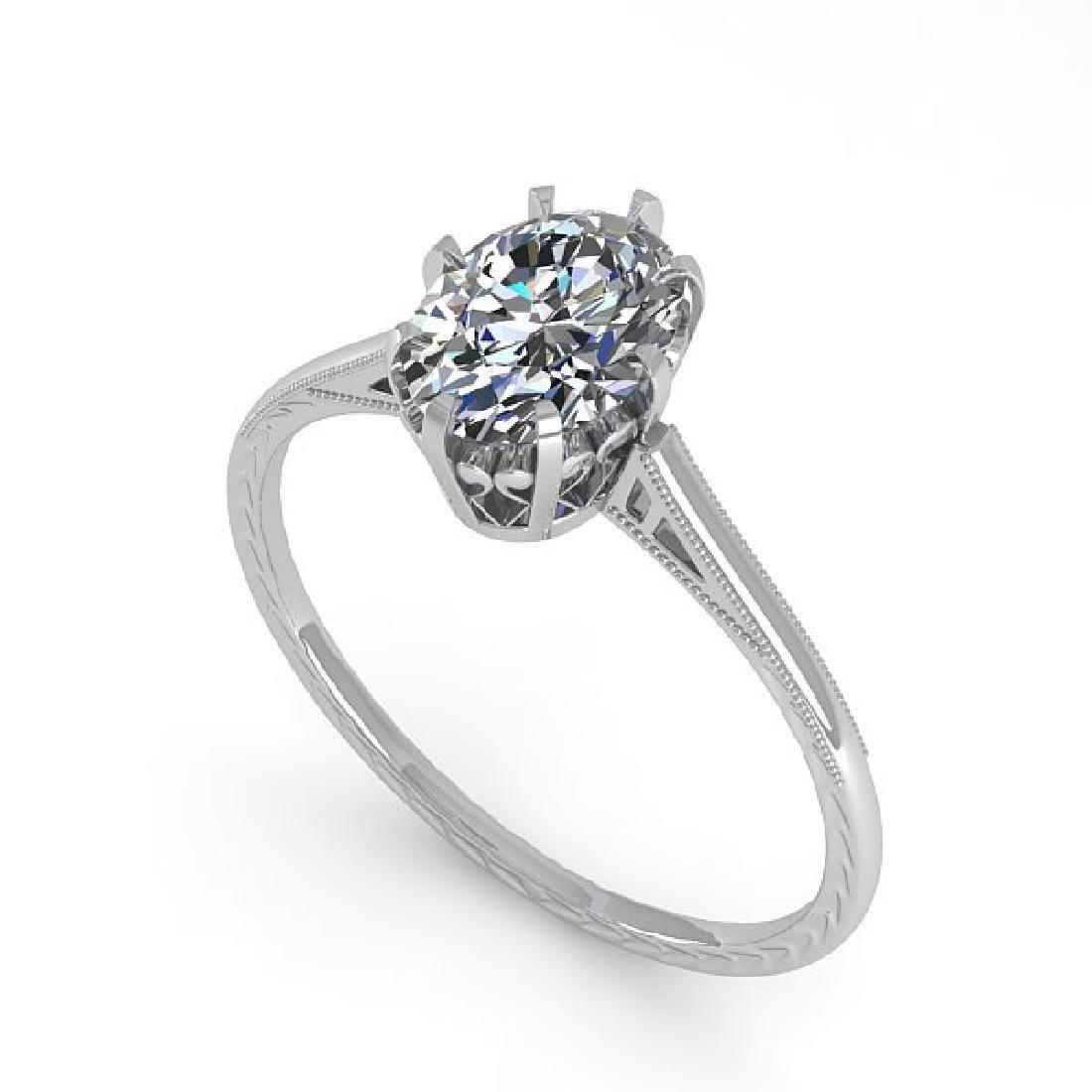 1.0 CTW VS/SI Oval Diamond Solitaire Ring 14K White - 2