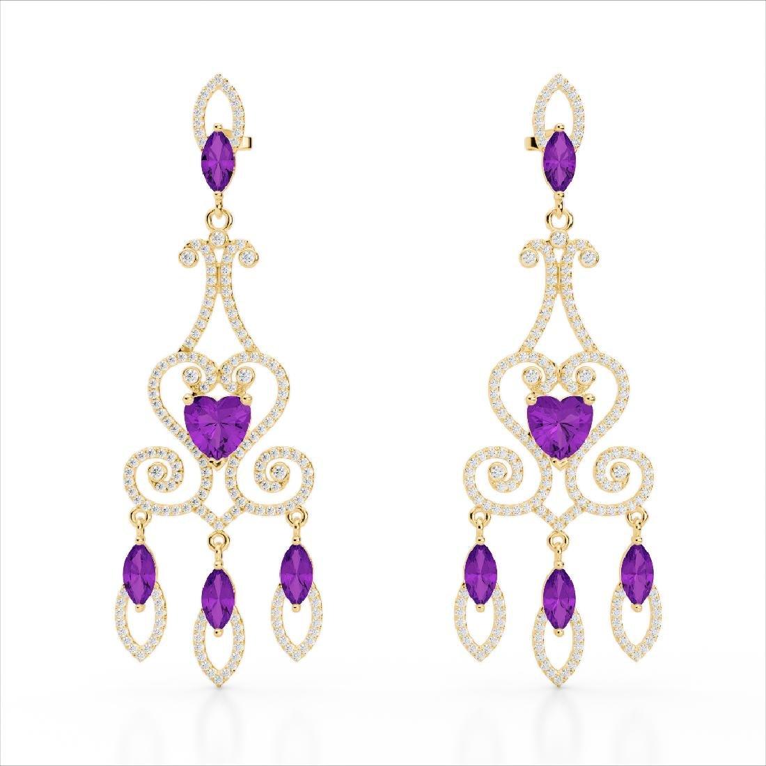 11 CTW Amethyst & Micro Pave VS/SI Diamond Earrings 14K - 2