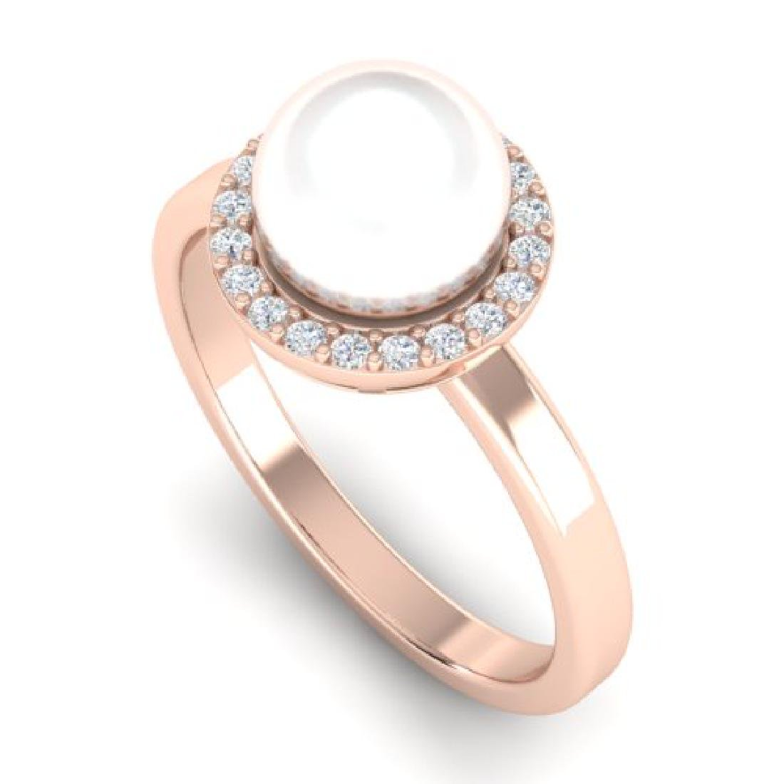 0.25 CTW Micro Pave Halo VS/SI Diamond & Pearl Ring 14K - 2
