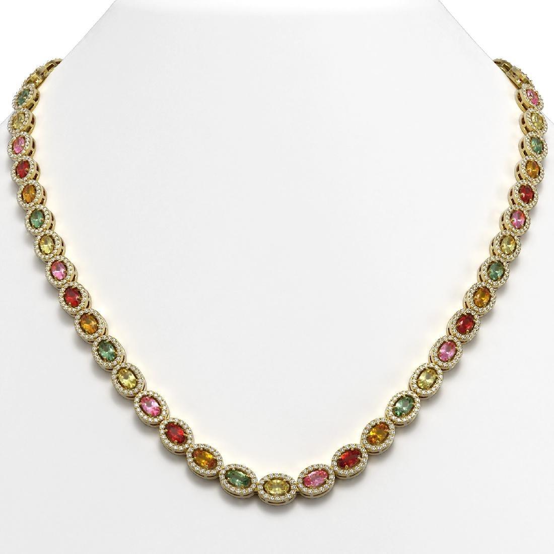 22.62 CTW Multi Color Sapphire & Diamond Halo Necklace