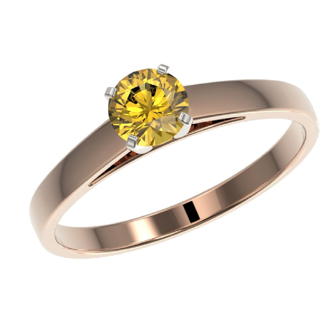0.54 CTW Certified Intense Yellow SI Diamond Solitaire - 2