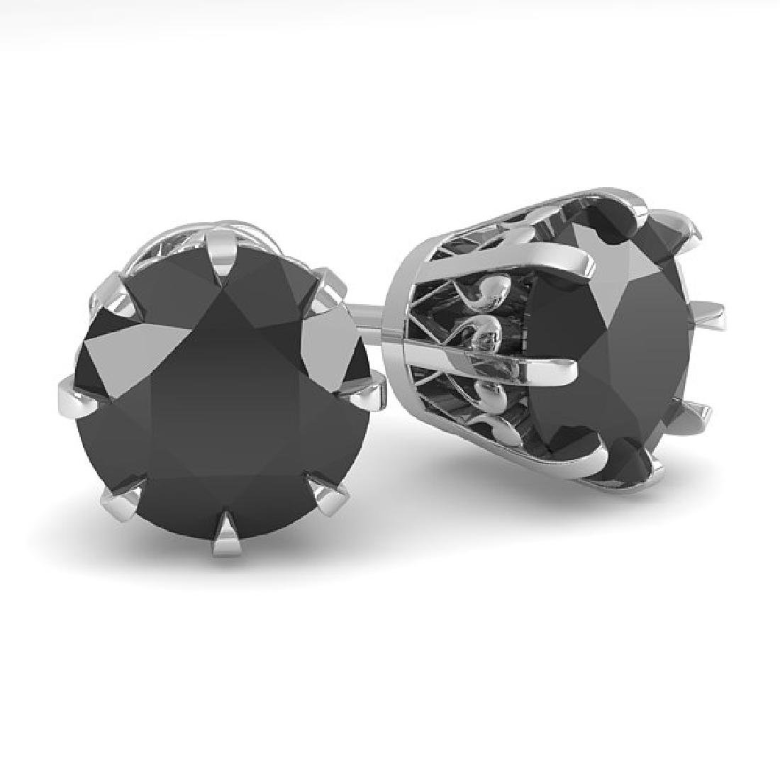 3.0 CTW Black Diamond Stud Solitaire Earrings 14K White