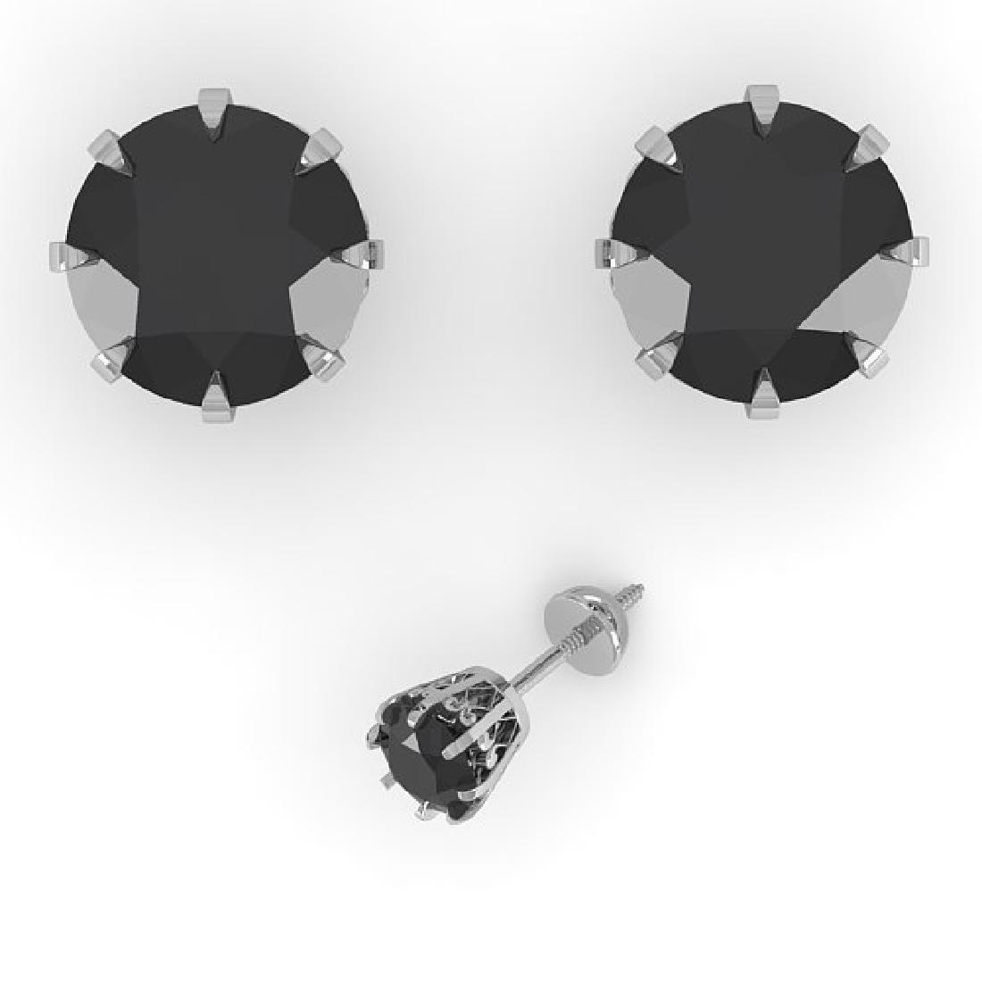 3.0 CTW Black Diamond Stud Solitaire Earrings 14K White - 2