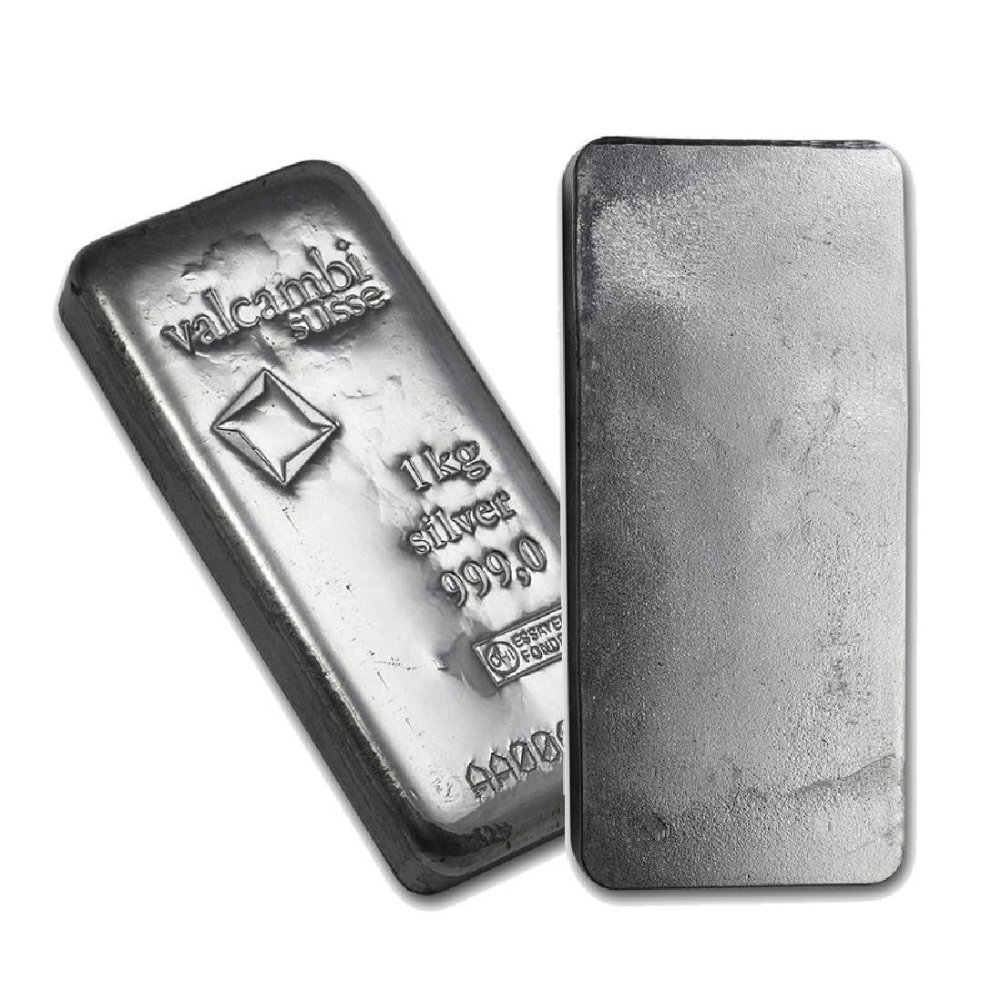 One piece 1 kilo 0.999 Fine Silver Bar Valcambi with