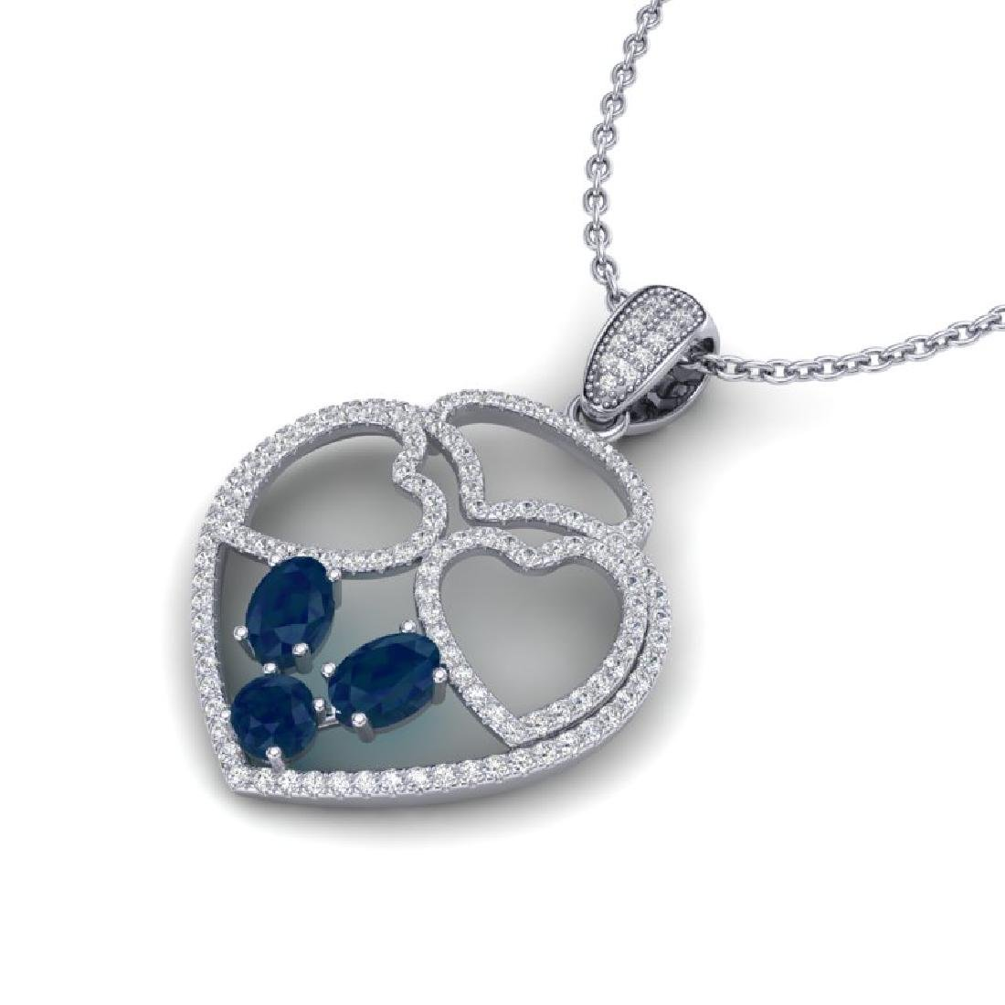 3 CTW Sapphire & Micro Pave Designer Inspired Heart