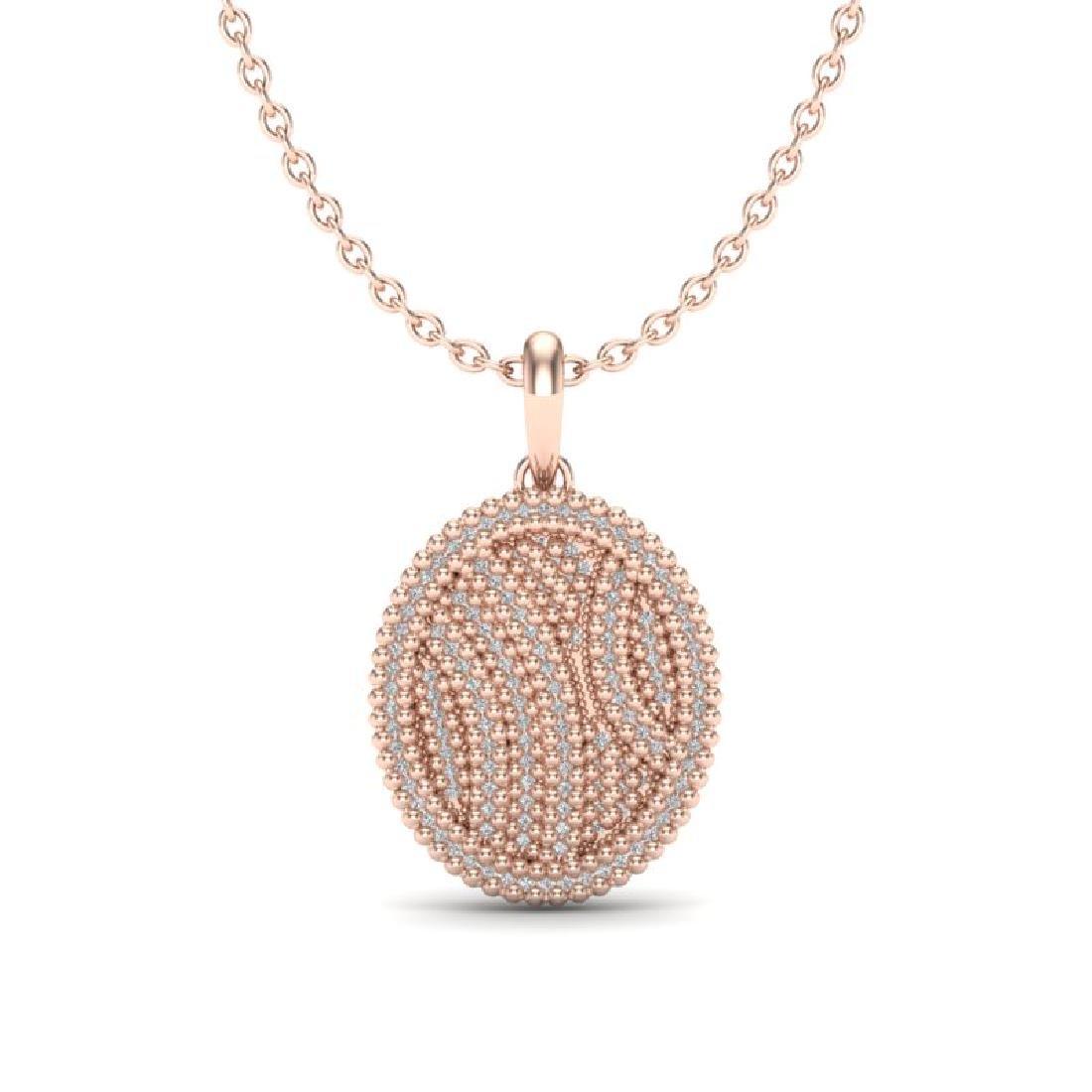 1 CTW Micro Pave VS/SI Diamond Necklace 14K Rose Gold