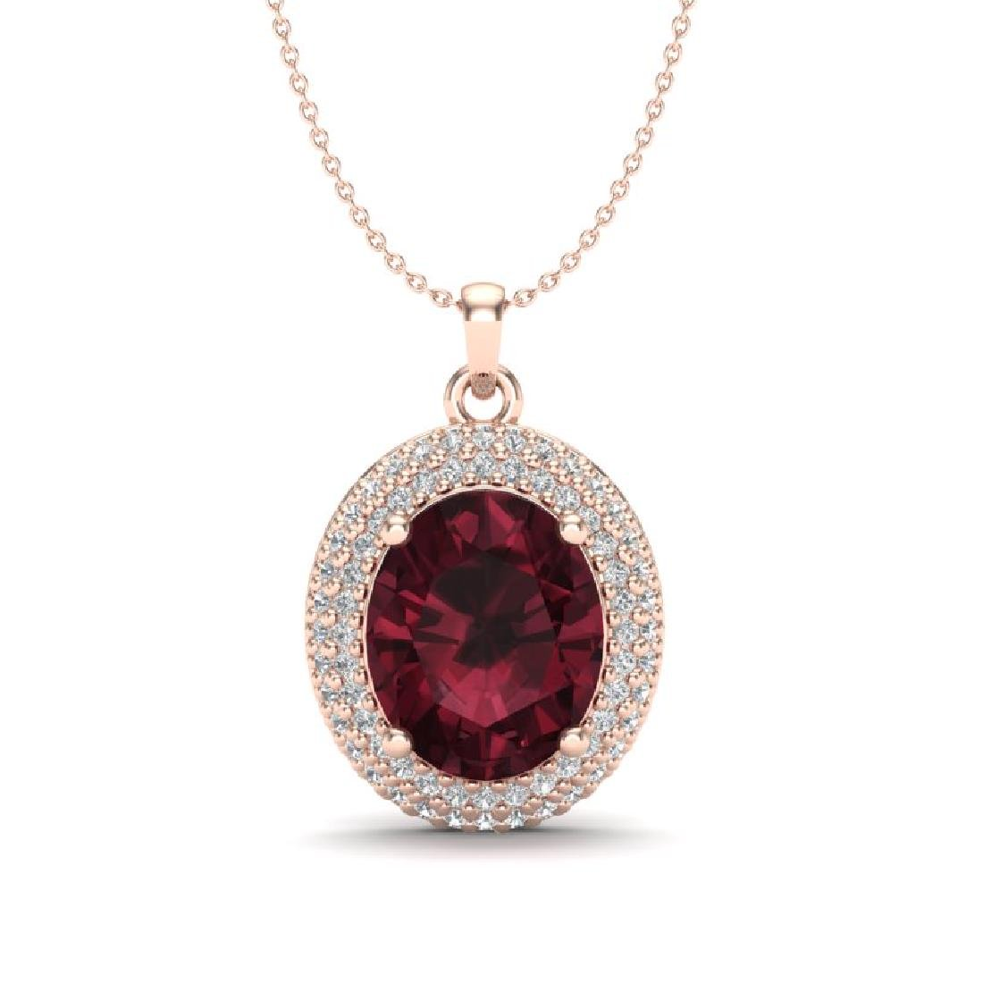 4.50 CTW Garnet & Micro Pave VS/SI Diamond Necklace 14K