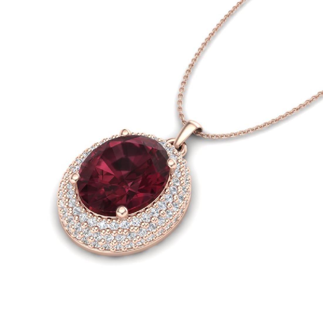 4.50 CTW Garnet & Micro Pave VS/SI Diamond Necklace 14K - 2