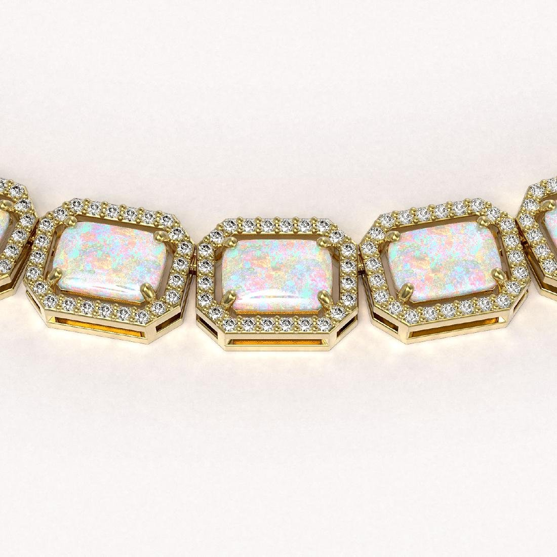 37.69 CTW Opal & Diamond Halo Necklace 10K Yellow Gold - 3