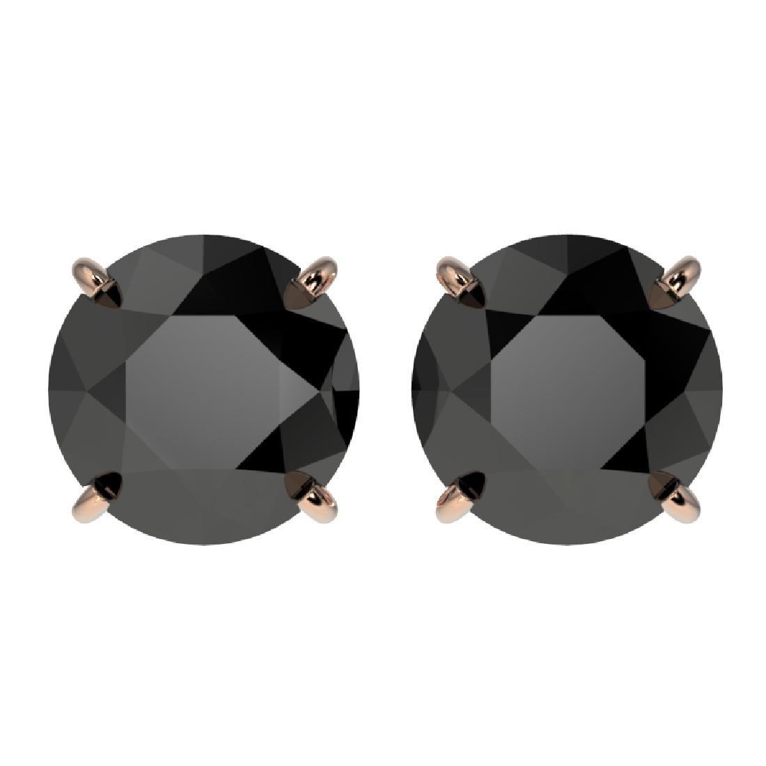 3.18 CTW Fancy Black VS Diamond Solitaire Stud Earrings