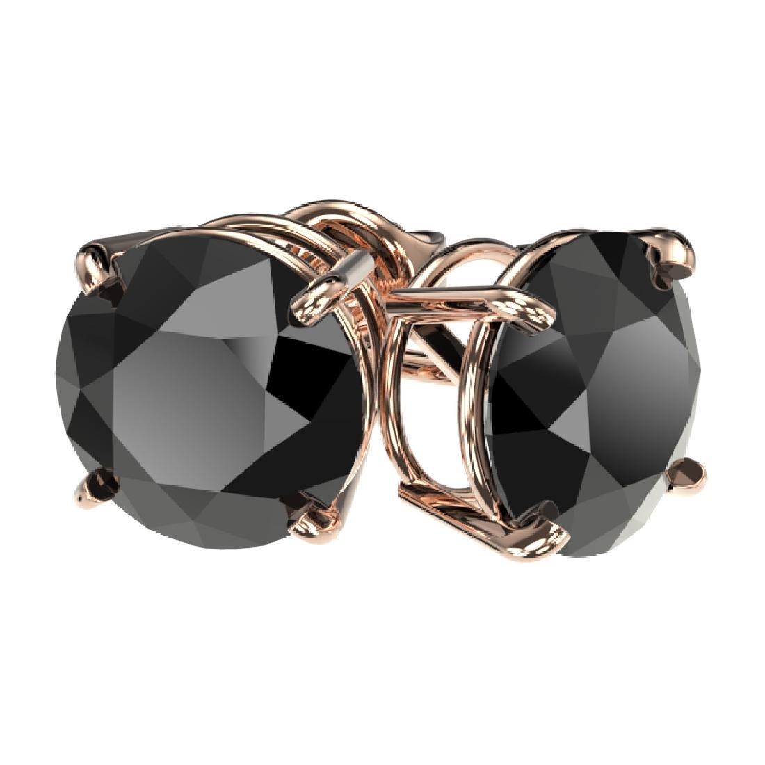 3.18 CTW Fancy Black VS Diamond Solitaire Stud Earrings - 3