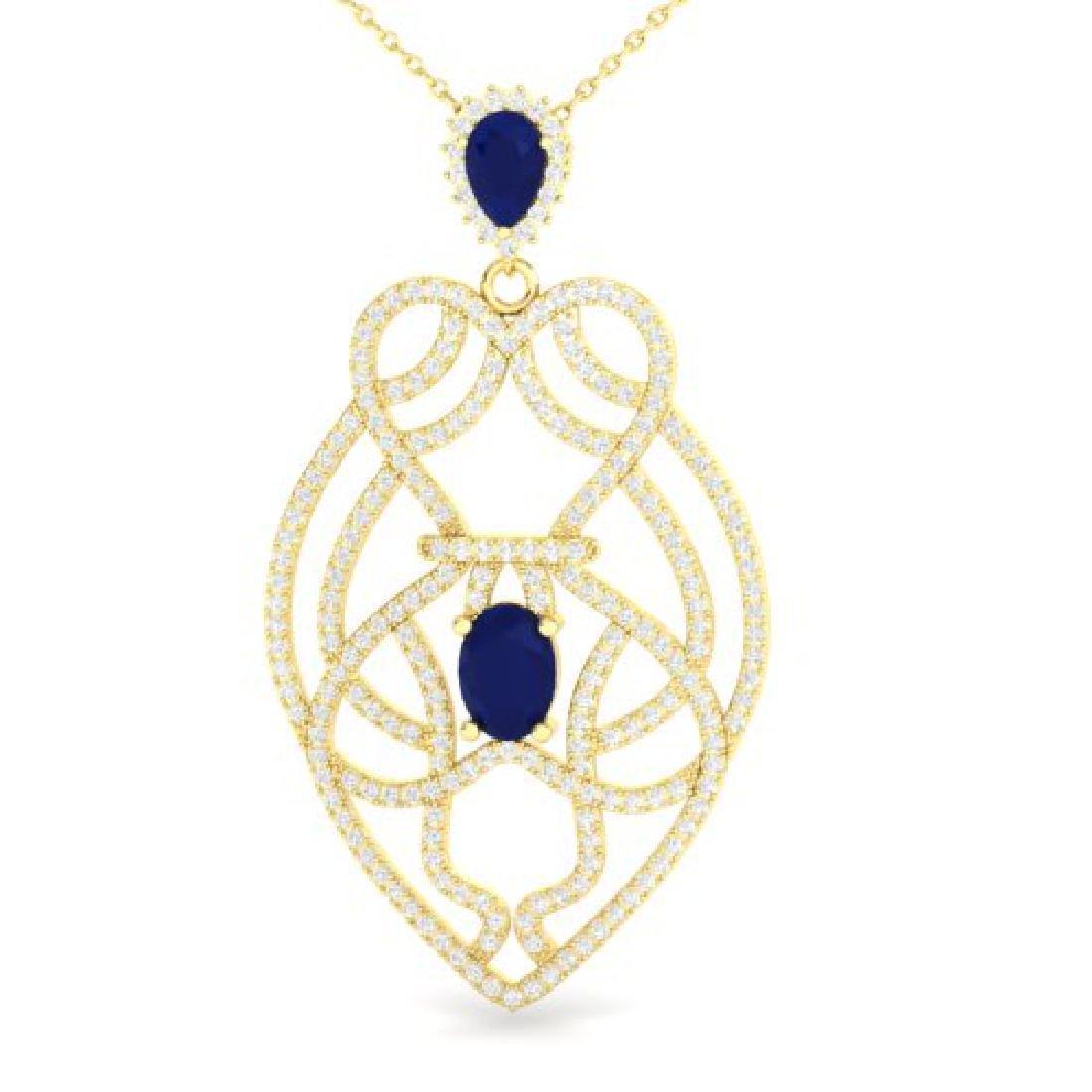 3.50 CTW Sapphire & Micro VS/SI Diamond Heart Necklace