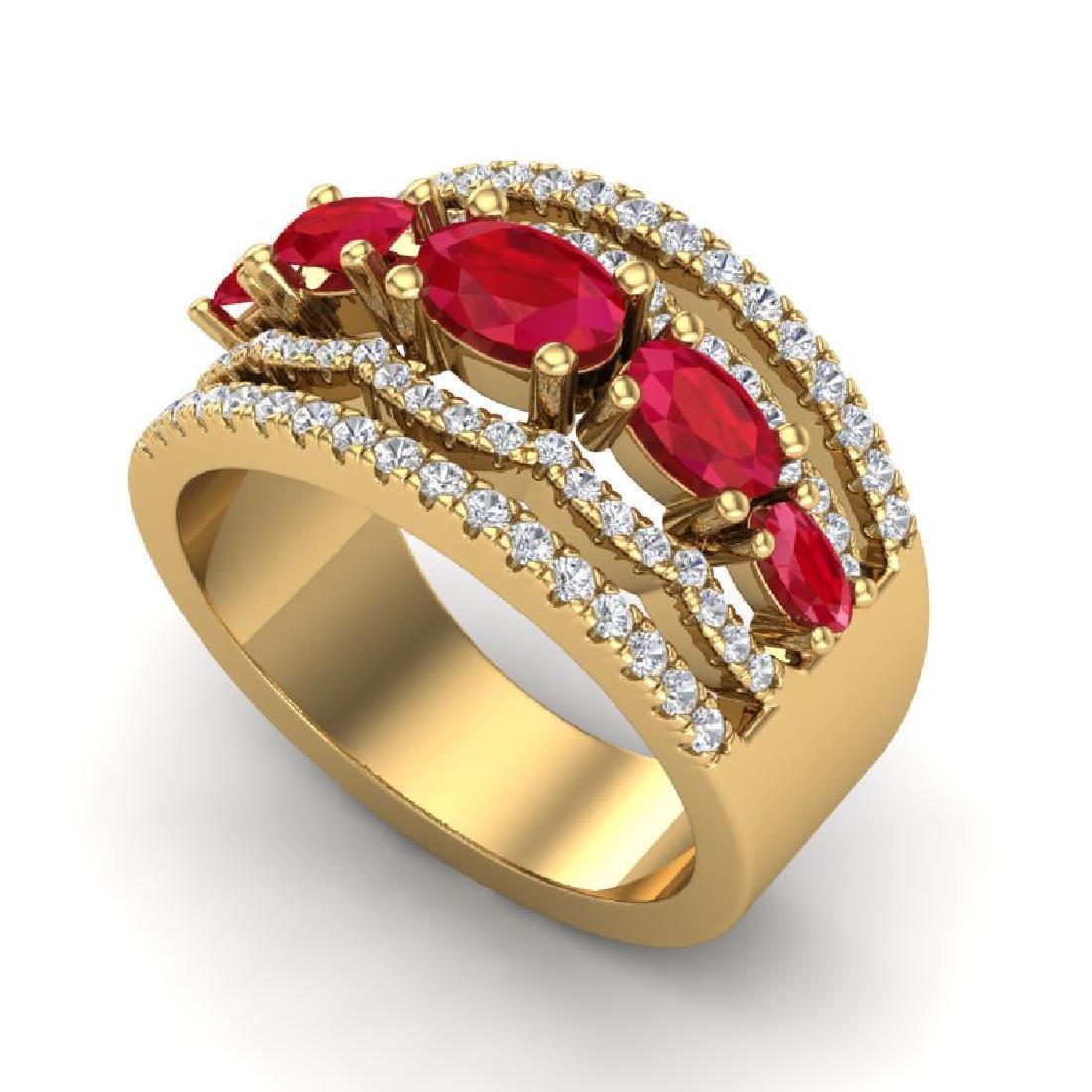 2.25 CTW Ruby & Micro Pave VS/SI Diamond Designer Ring - 2