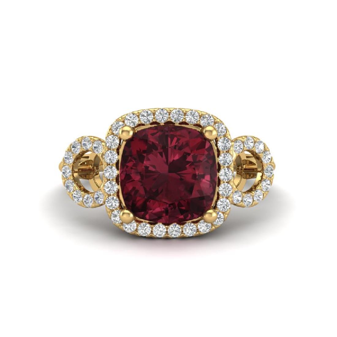 3.75 CTW Garnet & Micro VS/SI Diamond Ring 18K Yellow