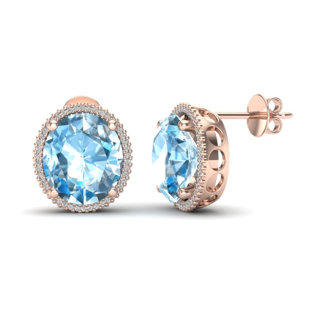 25 CTW Sky Blue Topaz & Micro VS/SI Diamond Halo - 2