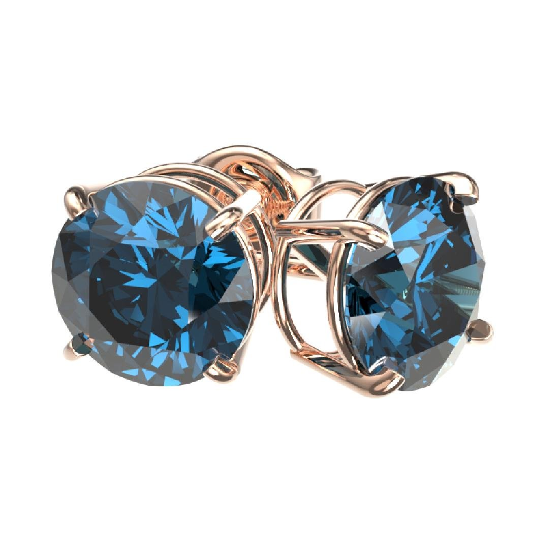 2.05 CTW Certified Intense Blue SI Diamond Solitaire - 3