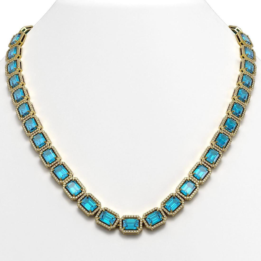 52.99 CTW Swiss Topaz & Diamond Halo Necklace 10K