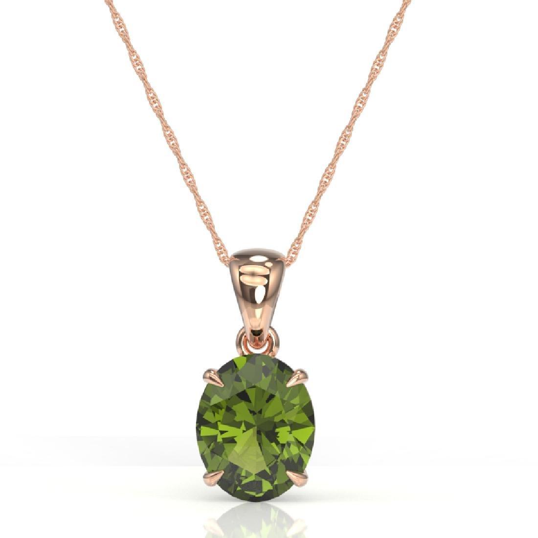 3 CTW Green Tourmaline Designer Solitaire Necklace 14K - 2