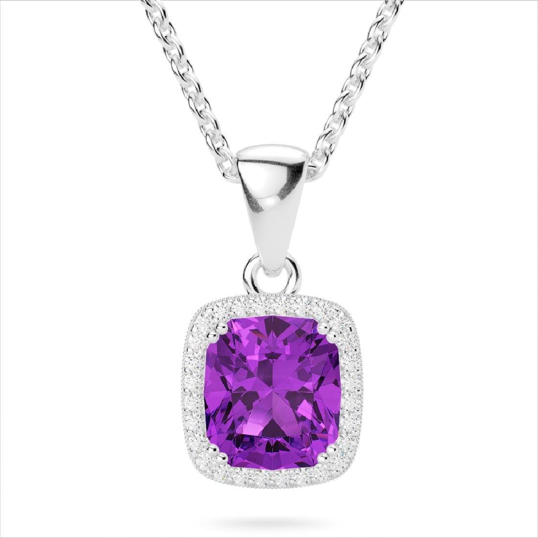3 CTW Amethyst & Micro VS/SI Diamond Pave Halo Necklace - 2