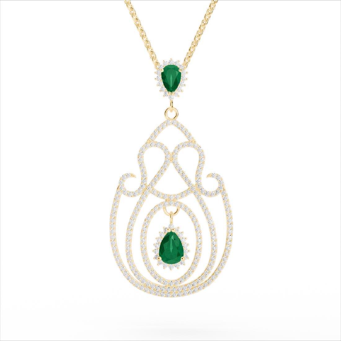 3.20 CTW Emerald & Micro Pave VS/SI Diamond Heart - 3